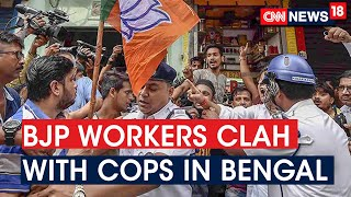 BJP Workers Clash With Cops In Bengal During 12 Hour Bandh To Protest Killing Of A BJP Worker