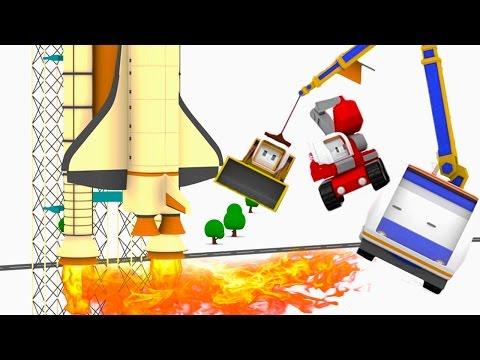 The speeding reactor plane ! Learn with Tiny Trucks: bulldozer, crane, excavator Educational cartoon