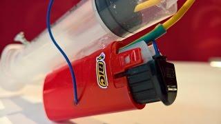 Syringe Gas Gun with a lighter? Lighter Life hack