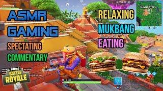 ASMR Gaming | Fortnite Mukbang Eating Burger King Hamburgers Commentary 먹방 ???????? Relaxing Whispering????????