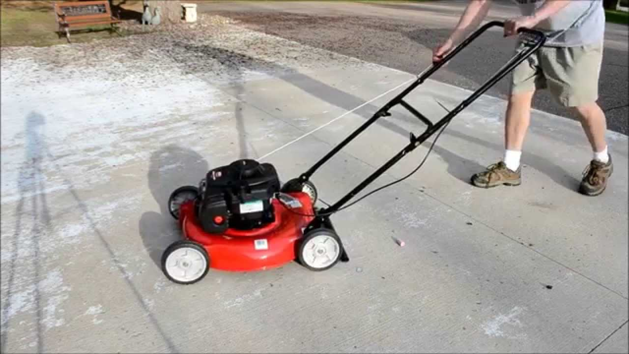 yard machines 20 in 125 cc ohv briggs and stratton gas walk behind push mower 11a 02bt729 the home depot [ 1280 x 720 Pixel ]