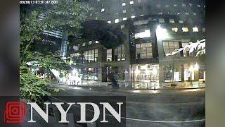 Surveillance Footage Of One World Trade Center BASE jumper
