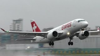 Swiss Airbus A220 Departing London City Airport