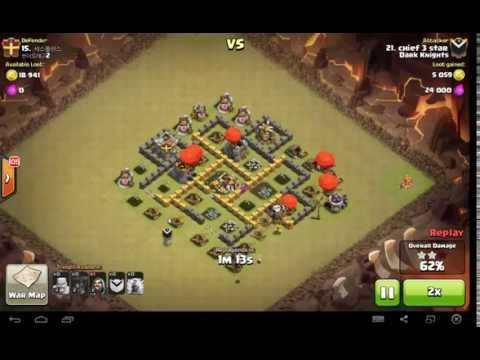Town Hall 5 Mass Balloon War Attack Strategy. 3 Star Against Higher Bases!