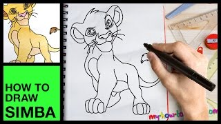 How to draw Simba - Easy step-by-step drawing lessons for kids