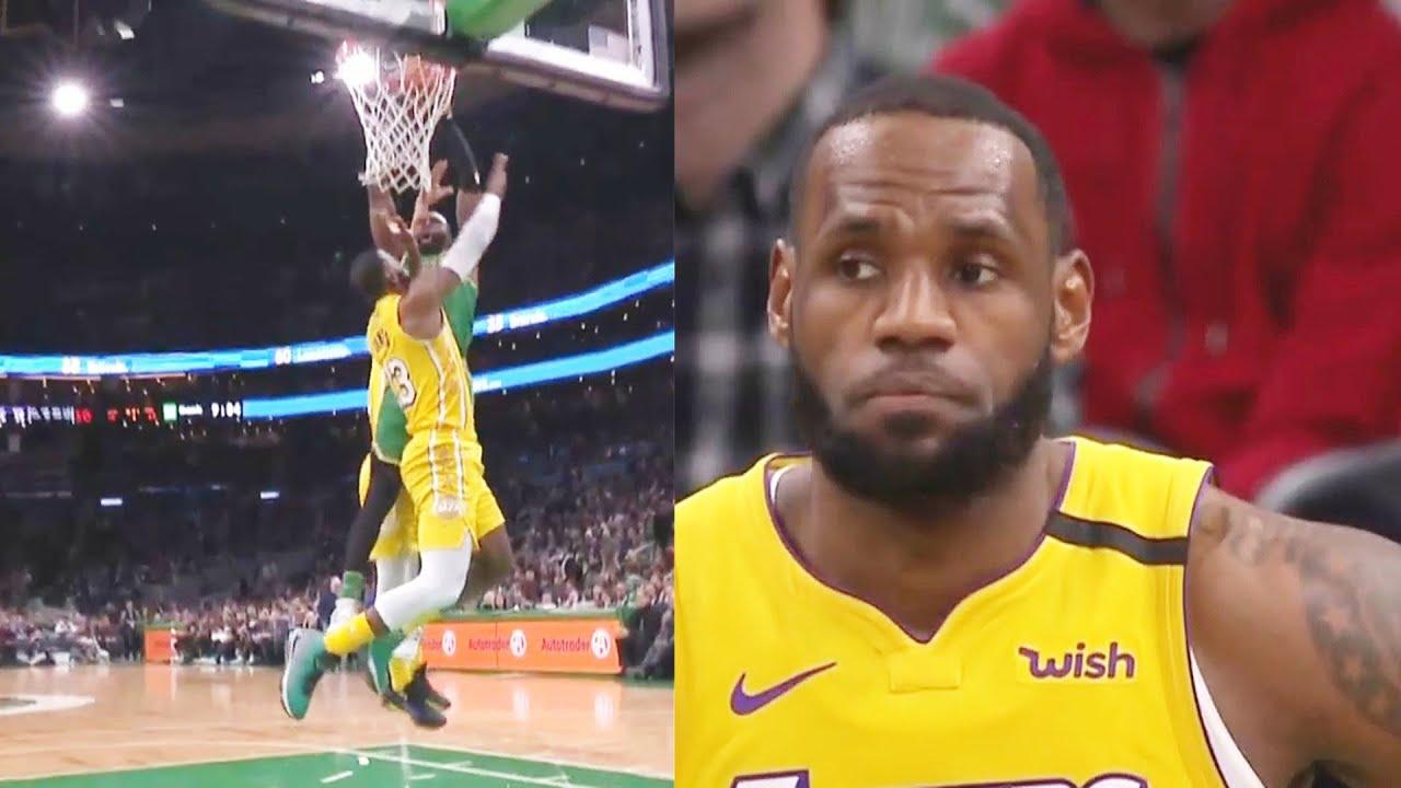 Jaylen Moss >> Lebron James Gets Murdered By Jaylen Brown S Crazy Dunk Celtics Destroy Lakers Lakers Vs Celtics