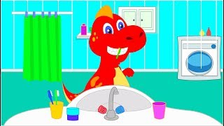 Little Dinosaur brushing his teeth very hard   Dinosaurs cartoons for kids
