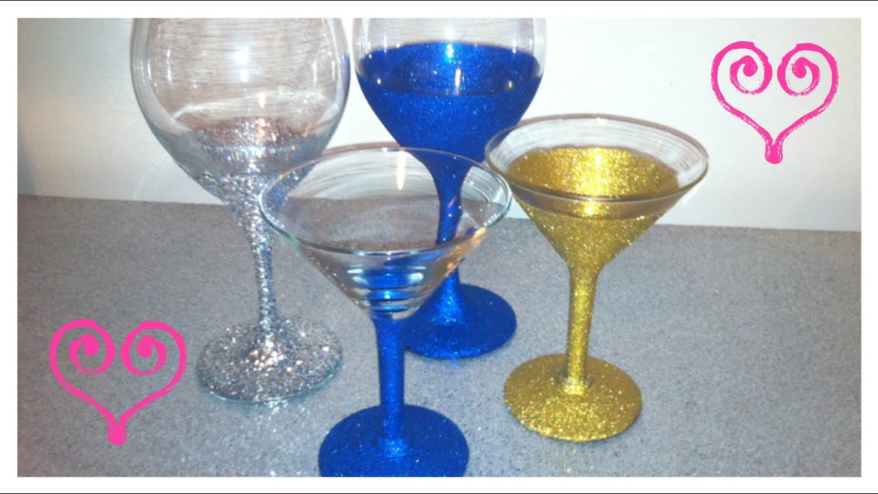 Diy put glitter on wine martini glasses youtube How to make wine glasses sparkle