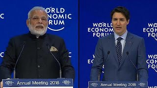Keine Abschottung: Modi und Trudeau warnen in Davos vor Protektionismus