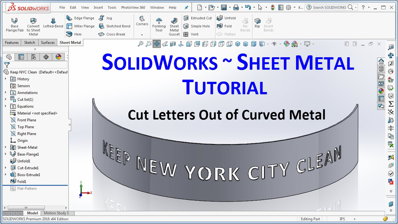 Solidworks Tutorial Cut Letters In Curved Sheet Metal