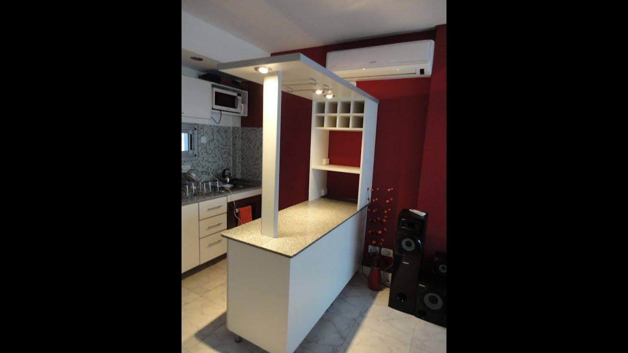 Desayunador granito separador de ambientes te 155 259 for Cocinas con desayunador de madera