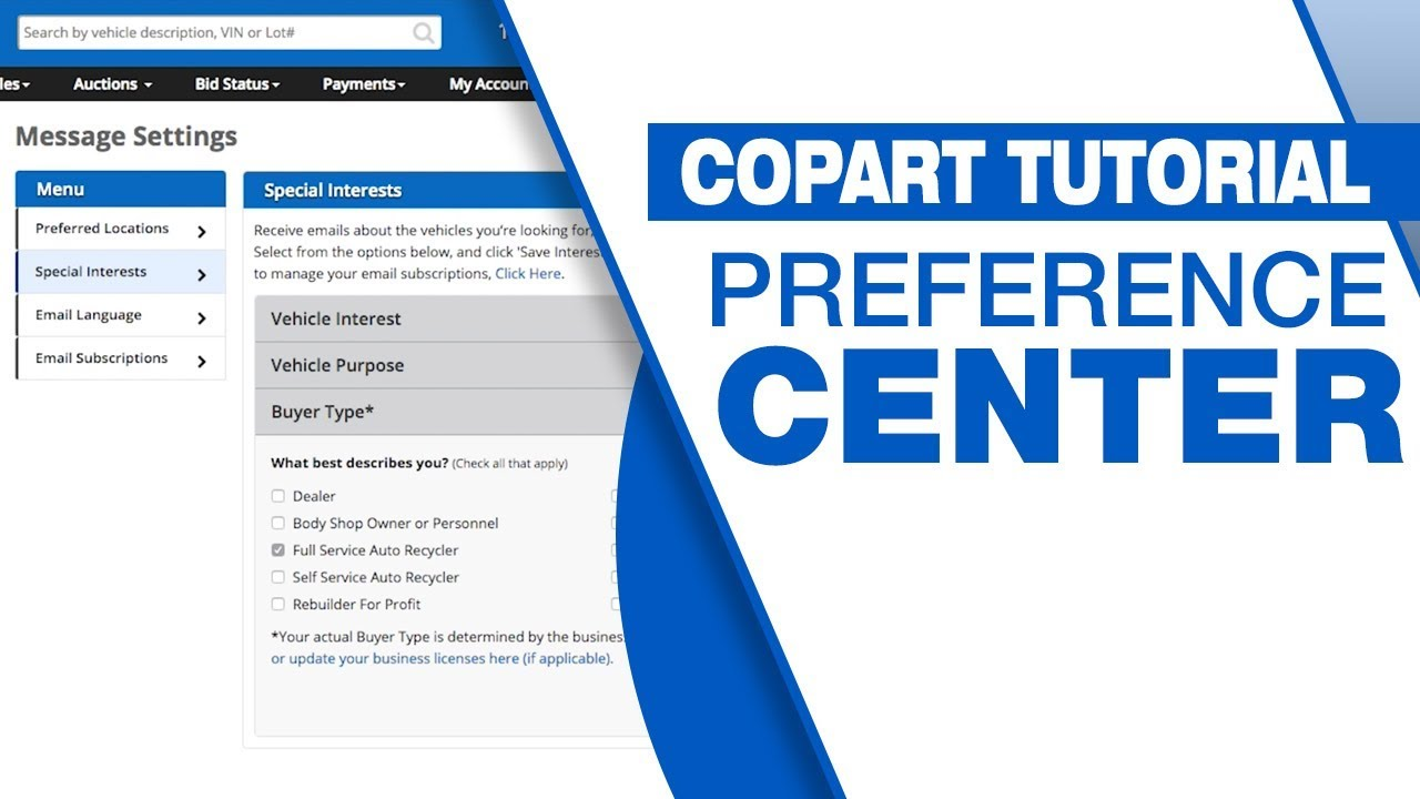 Copart Customer Service Number >> Copart Tutorial Preference Center