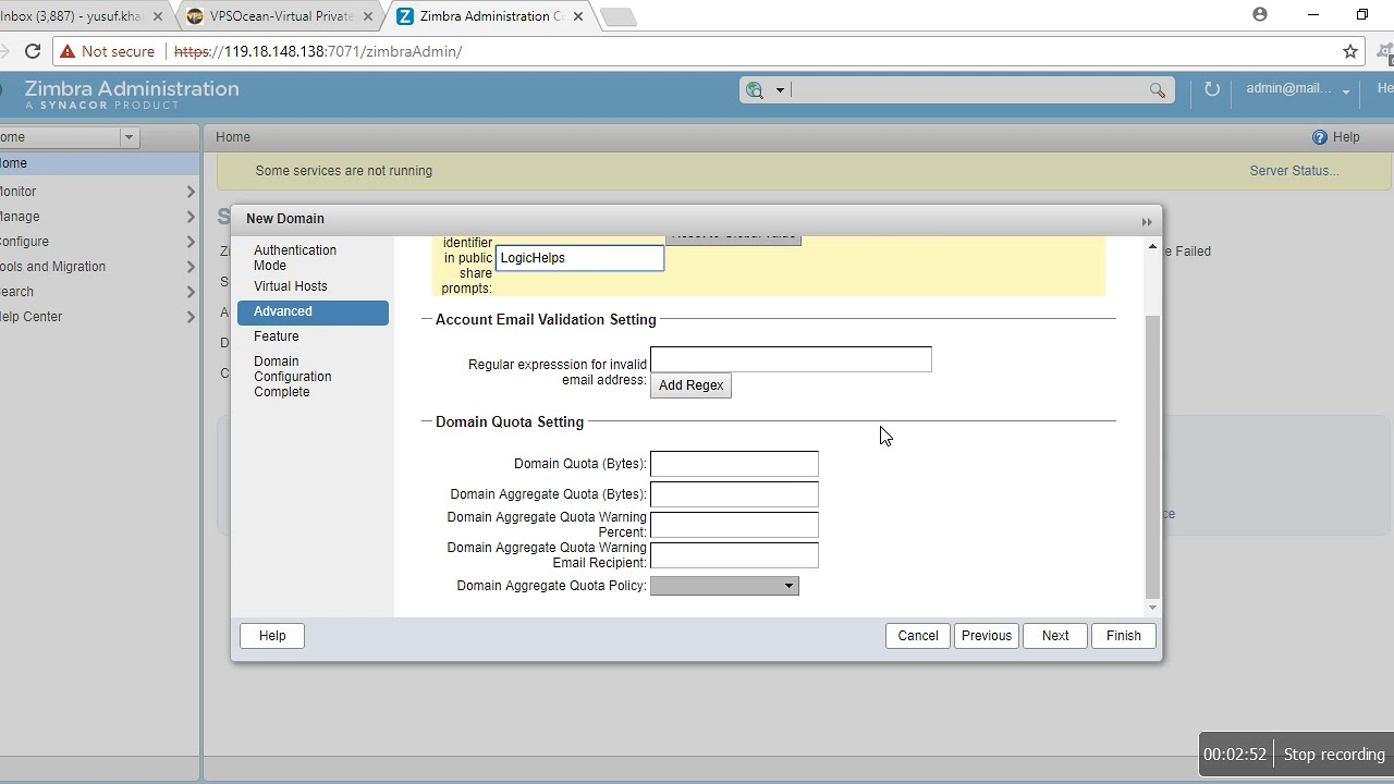 Zimbra Administration Create Domain and Create Email Account