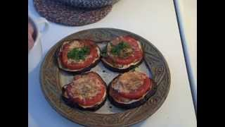 Eggplant and Tomato Slices in the Toaster Oven