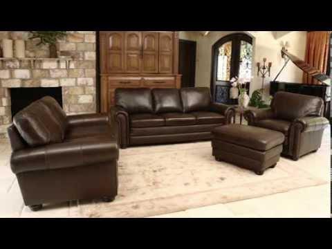 Dark Brown Leather Sofa Set