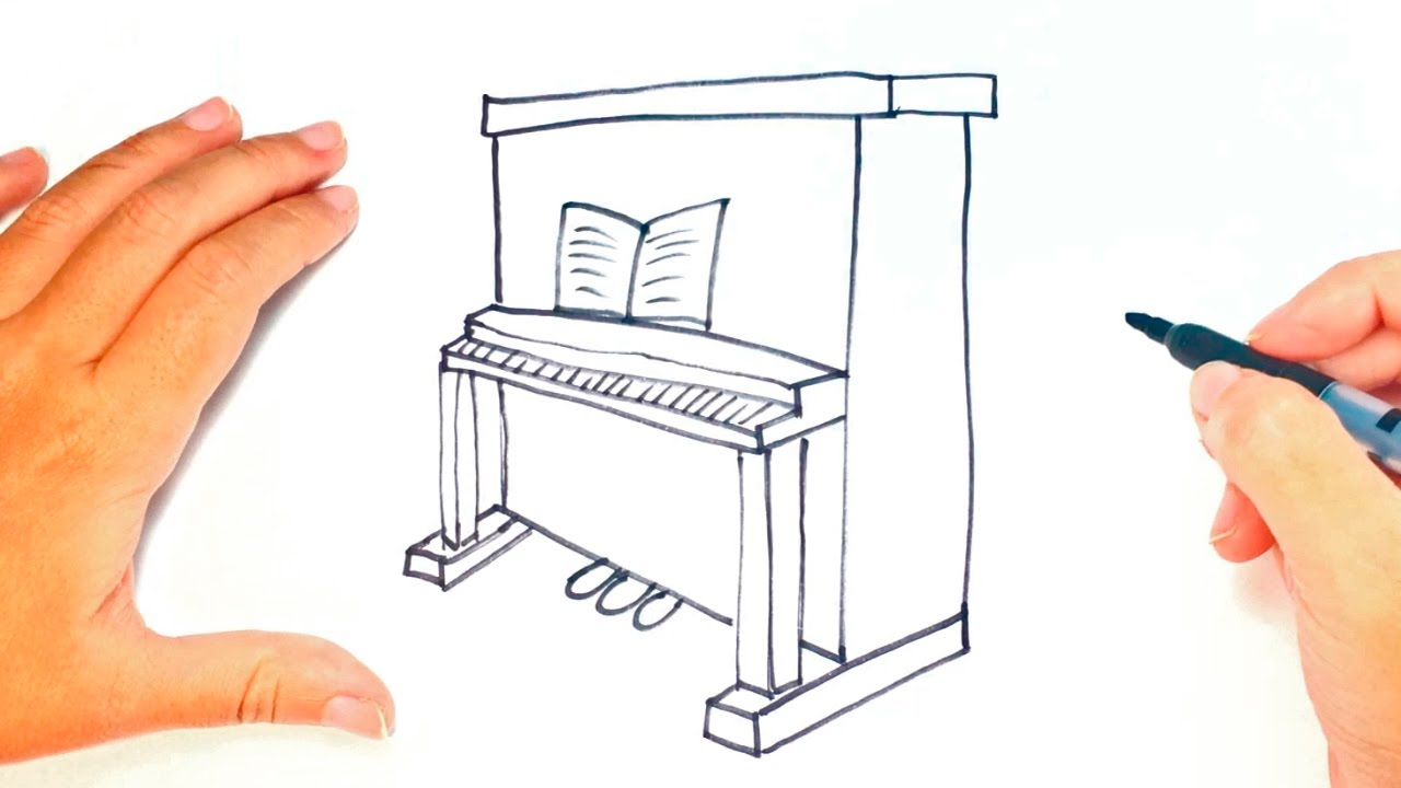 How To Draw A Piano For Kids Piano Easy Draw Tutorial Youtube