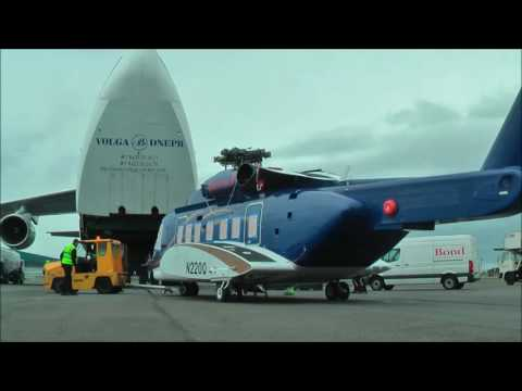 A Bond S-92 arrives in the UK aboard an AN-124
