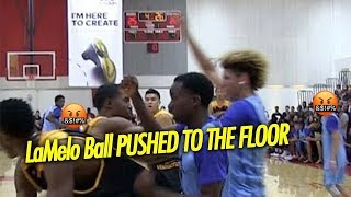 LaMelo Ball Gets Pushed to the Floor by Jovan Blacksher Then Teammate stands up for Lamelo!