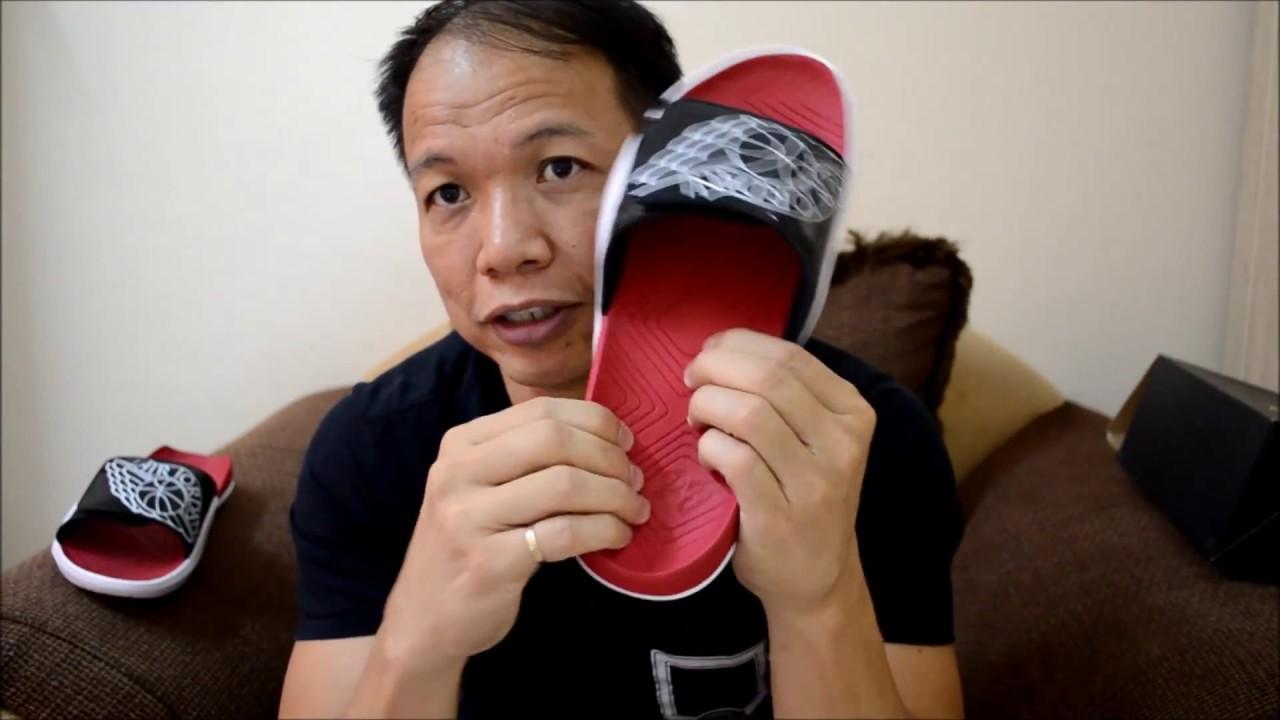 bc3468d79f2330 Jordan Hydro 7 Slides White Black Gym Red - YouTube