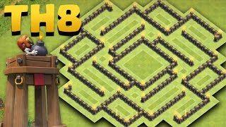 Town Hall 8 Best Farming Base New Update *BOMB TOWER* (TH8 Hybrid Anti Dragon, Anti Giant)