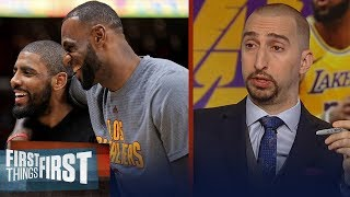 Nick Wright breaks down the chance Kyrie Irving - LeBron James reunite | NBA | FIRST THINGS FIRST