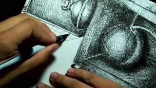 Speed Drawing Cross-Hatch/ Pen and Ink Art (Cherry Piano)