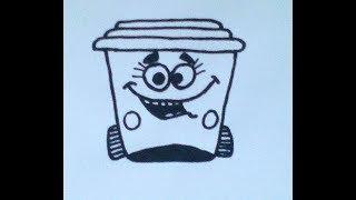 Как нарисовать мусорное ведро - How to draw a trash can - 如何画一个垃圾桶