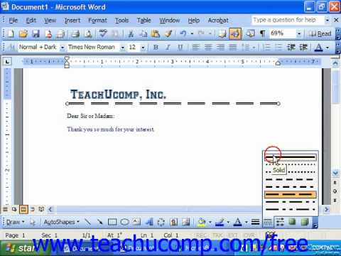Word 2003 Tutorial Applying Line Style Dash Style Arrow Style Microsoft Office Training Lesson 14.7
