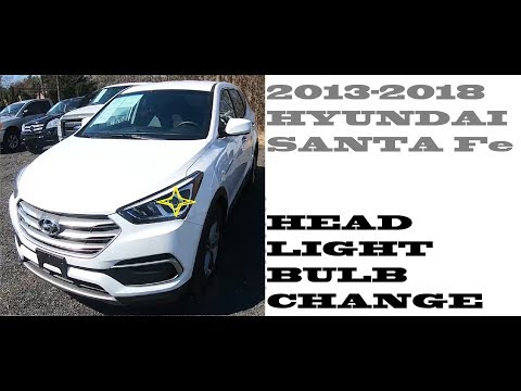 How to replace change Headlight bulbs in Hyundai Santa fe 2013-2018