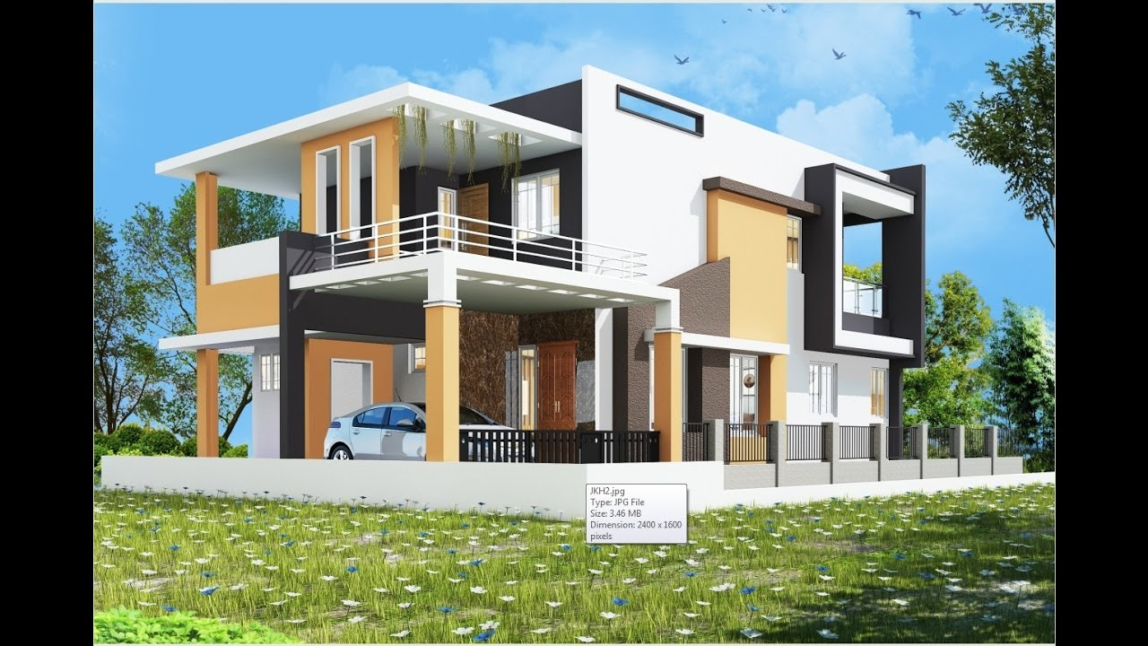 Architectural rendering exterior o1 jk house youtube - Revit exterior rendering settings ...