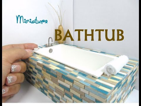 Wooden Bathtub that holds water Dollhouse Furniture Miniature Furniture Bathroom