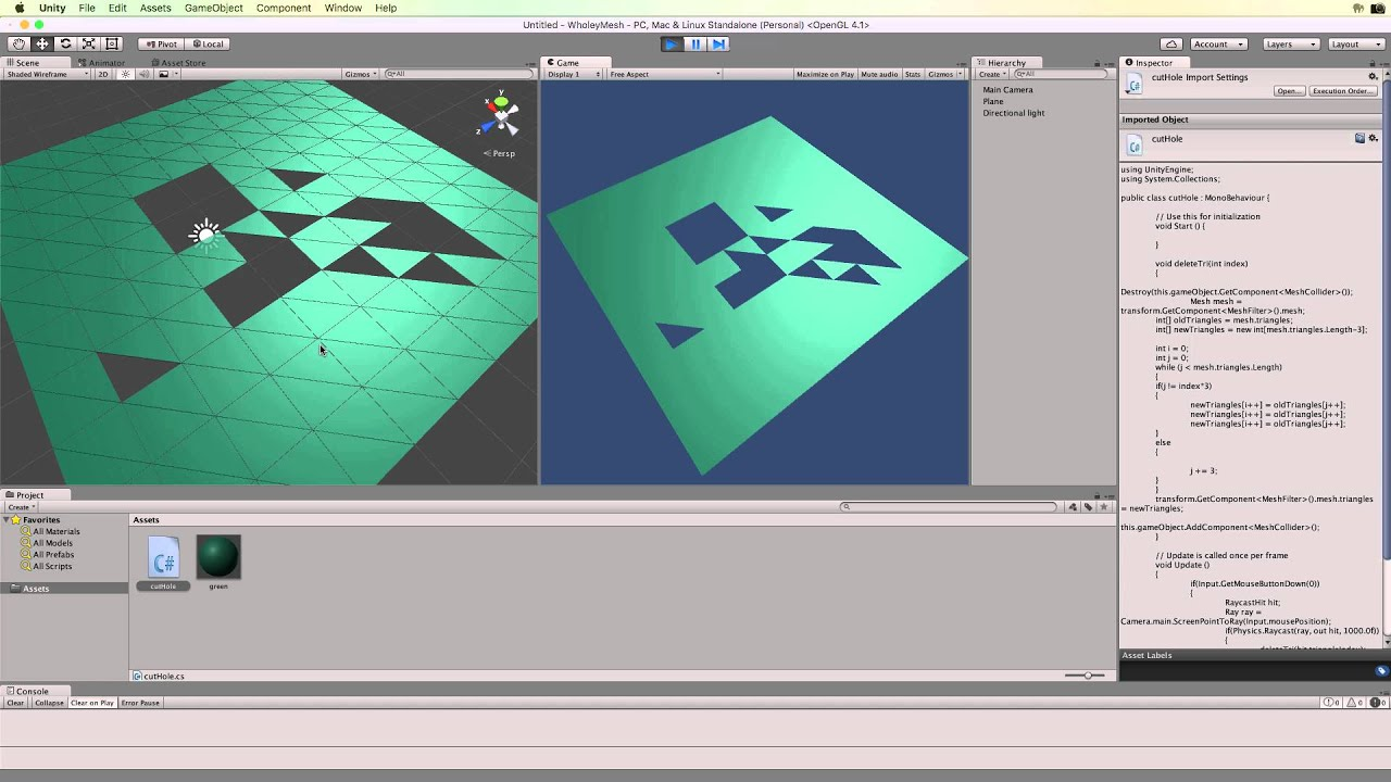 Cutting Holes in a Mesh at Runtime in Unity 5