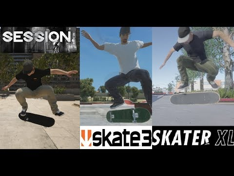 SESSION vs SKATE 3 vs SKATER XL(tricks comparison)