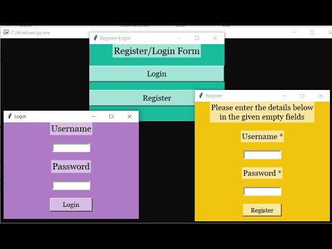 Register Login Form in Python with source code | Source Code & Projects