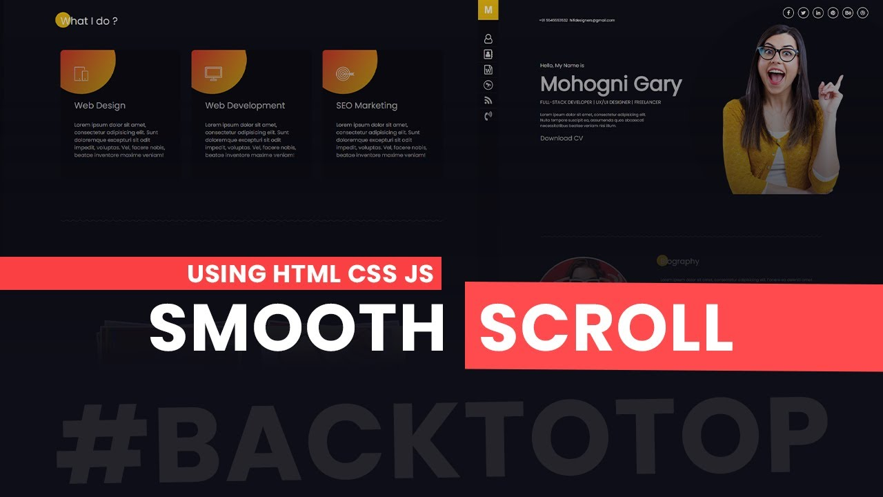 Smooth Scroll and Back to Top scroll using HTML CSS Only - Creative HTML Website Design