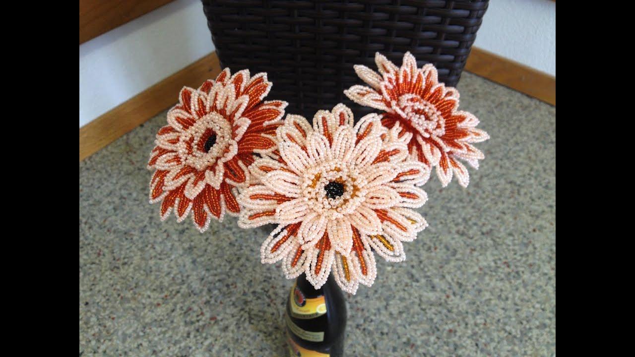 Цветы из бисера. Герберы. Мастер класс с пошаговыми 14