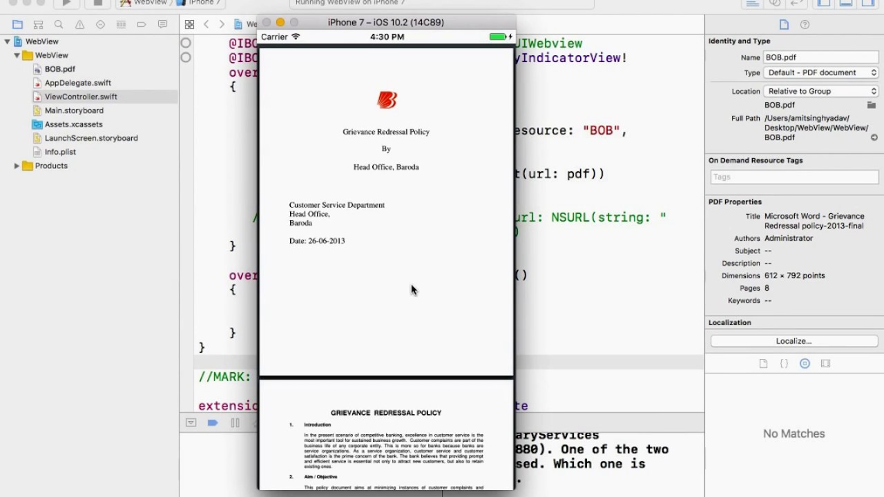 UIWebView : How to display PDF file  Swift 3 0