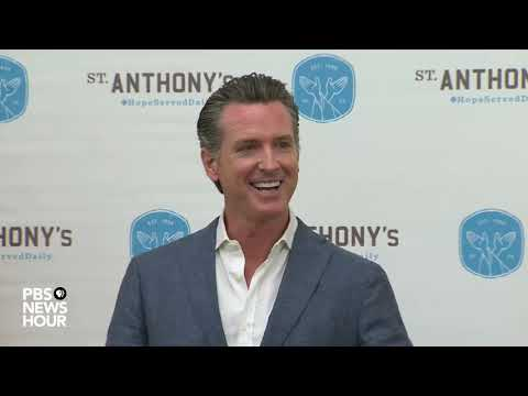 Acting California Governor Gavin Newsom holds news conference