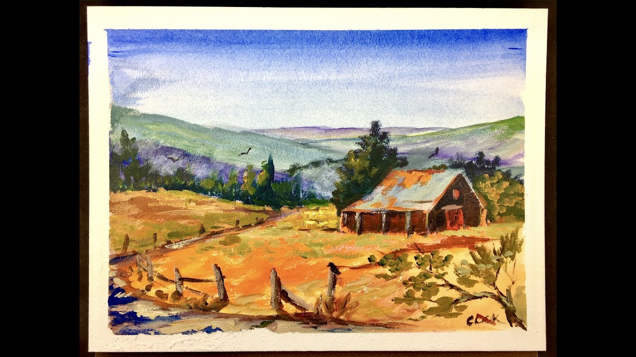 Painting A Watercolor Landscape and Barn using Block Paper ...