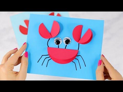 Paper Crafts for Kids - Paper Circle Crab