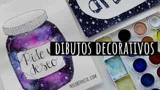DIBUJOS PARA PORTADAS DE CUADERNO | DIBUJOS DE GALAXIA para decorar tu cuarto, una libreta y más
