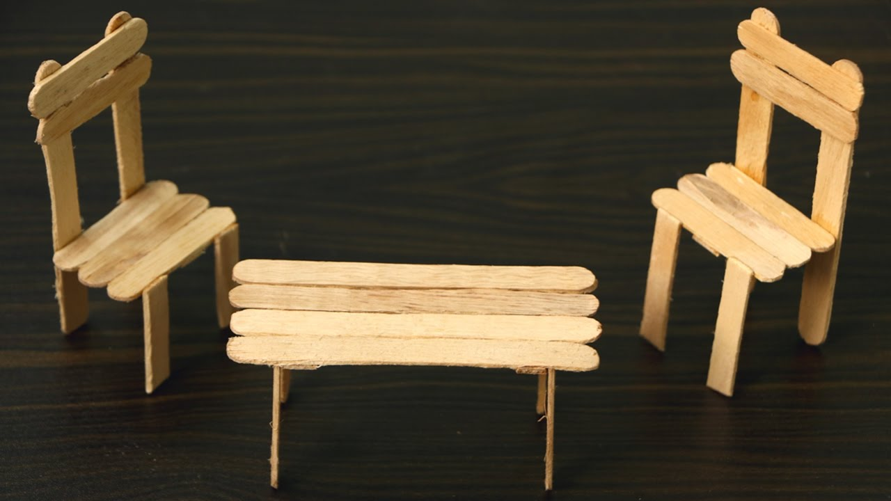 How To Make A Chair And Table Using Ice Cream Sticks Popsicle Stick You