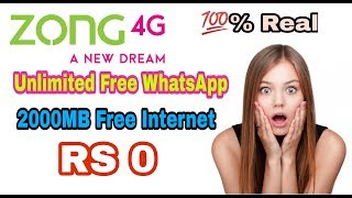 Zong Unlimited Free 4G Internet | 2018