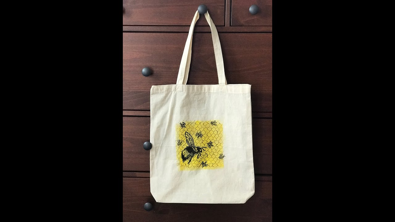 DIY Painting, Stamping and Lino Printing on Fabric Tote Bag