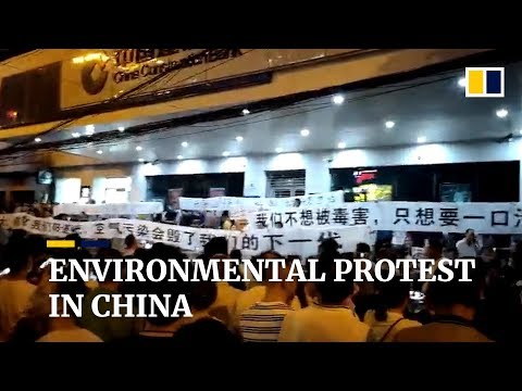 Chinese people protest against waste-to-energy plant project in Wuhan