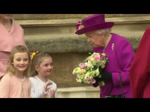 Queen Elizabeth ll (91) & Members British Royal Family Leave Easter Sunday Service 2018