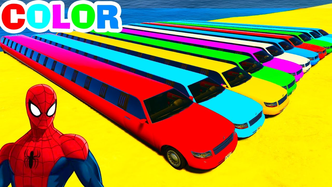 Long Color Cars In Spiderman Cartoon With Colors For Kids And Children Nursery Rhymes Fun Video Youtube