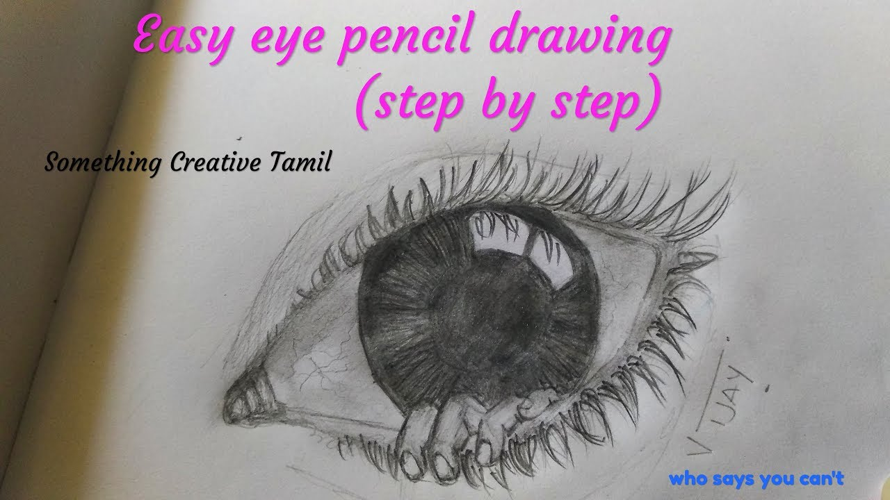 Easy eye pencil drawing step by step - YouTube