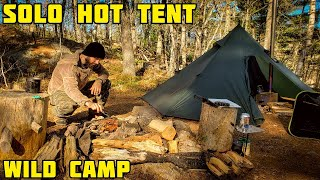 Solo Overnighter In A Hot Tent And Cooking Steak Over Fire