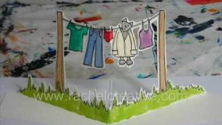 Kitty Washing Line - Pop Up Drawing